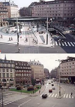 Paza Urbana devenida en Hub del sistema Tram de Estrasburgo